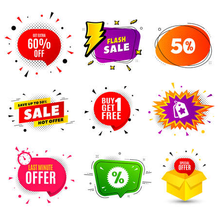 Get Extra 60% off Sale. Banner badge, flash sale bubble. Discount offer price sign. Special offer symbol. Save 60 percentages. Last minute offer. Sticker badge, comic bubble. Discounts box. Vector