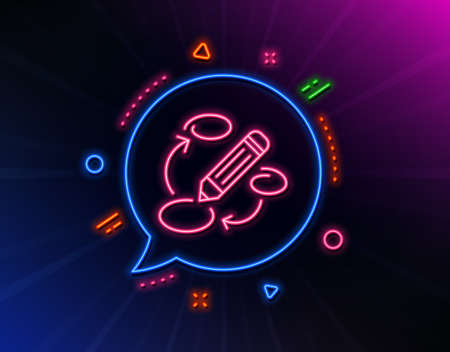 Keywords line icon. Neon laser lights. Pencil symbol. Marketing strategy sign. Glow laser speech bubble. Neon lights chat bubble. Banner badge with keywords icon. Vector
