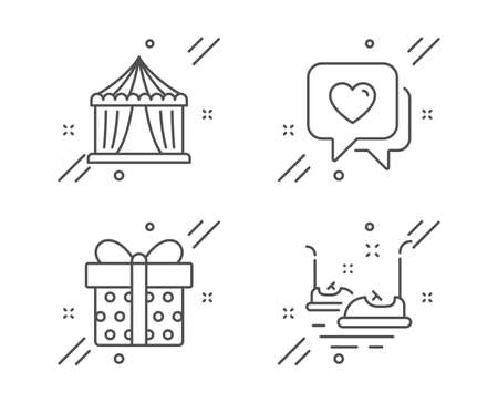 Heart, Circus tent and Gift box line icons set. Bumper cars sign. Love chat, Attraction park, Present package. Carousels. Holidays set. Line heart outline icon. Vector