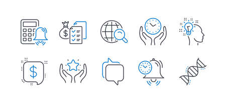 Set of Education icons, such as Idea, Payment message, Accounting wealth, Ranking, Safe time, Time management, Internet search, Messenger, Calculator alarm, Chemistry dna line icons. Vector Иллюстрация