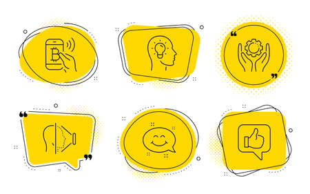 Employee hand, Idea head and Like signs. Chat bubbles. Smile chat, Face id and Bitcoin pay line icons set. Happy emoticon, Phone scanning, Mobile payment. Work gear. People set. Vector