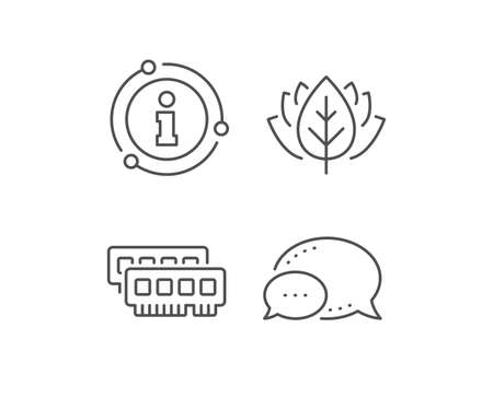 Ram line icon. Chat bubble, info sign elements. Computer random-access memory component sign. Linear ram outline icon. Information bubble. Vector