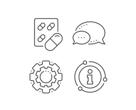 Capsule pill line icon. Chat bubble, info sign elements. Medical drugs sign. Pharmacy medication symbol. Linear capsule pill outline icon. Information bubble. Vector