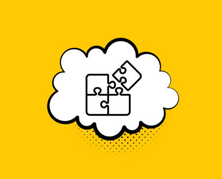 Puzzle line icon. Comic speech bubble. Engineering strategy sign. Yellow background with chat bubble. Puzzle icon. Colorful banner. Vector