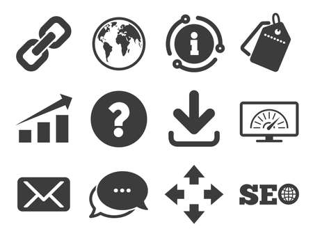 Bandwidth speed, download arrow and mail signs. Discount offer tag, chat, info icon. Internet, seo icons. Hyperlink, monitoring symbols. Classic style signs set. Vector 写真素材 - 128734533
