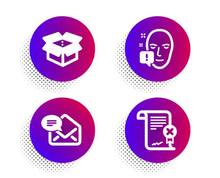 Face attention, New mail and Open box icons simple set. Halftone dots button. Reject certificate sign. Exclamation mark, Received e-mail, Delivery package. Decline file. Business set. Vector