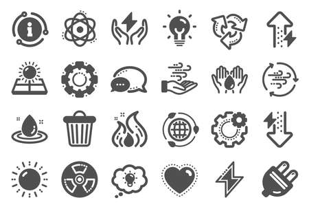Energy icons. Solar panels, wind energy and electric thunder bolt. Fire flame, hazard, green ecology icons. Electric plug, thunderbolt, recycling trash can. Solar power. Quality set. Vector