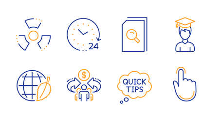 Sharing economy, 24 hours and Quick tips line icons set. Student, Search files and Environment day signs. Chemical hazard, Hand click symbols. Share, Time. Education set. Vector