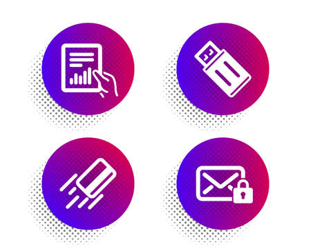 Document, Credit card and Usb flash icons simple set. Halftone dots button. Secure mail sign. File with diagram, Bank payment, Memory stick. Private e-mail. Education set. Vector