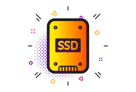 Solid-state drive sign. Halftone circles pattern. SSD icon. Storage disk symbol. Classic flat sSD icon. Vector