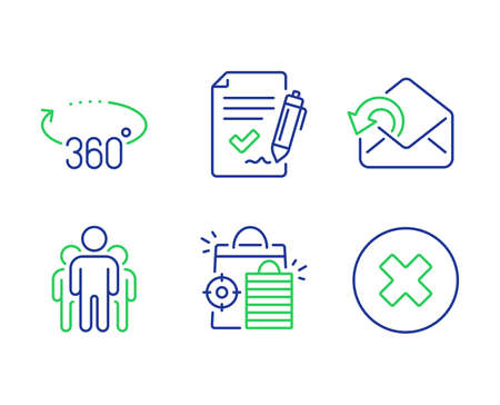 Seo shopping, Send mail and Group line icons set. Approved agreement, 360 degrees and Close button signs. Analytics, Sent message, Managers. Signature document. Technology set. Vector Ilustração