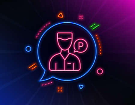 Valet servant line icon. Neon laser lights. Parking person sign. Transport park service symbol. Glow laser speech bubble. Neon lights chat bubble. Banner badge with valet servant icon. Vector
