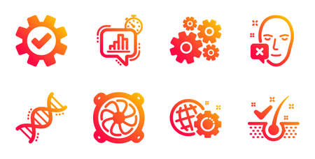 Service, Statistics timer and Computer fan line icons set. Cogwheel, Seo gear and Chemistry dna signs. Face declined, Anti-dandruff flakes symbols. Cogwheel gear, Growth chart. Science set. Vector
