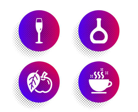 Apple, Cognac bottle and Champagne glass icons simple set. Halftone dots button. Coffee cup sign. Fruit, Brandy alcohol, Winery. Hot drink. Food and drink set. Classic flat apple icon. Vector Illustration