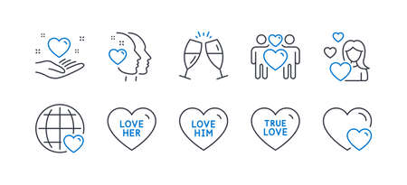 Set of Love icons, such as Love her, Love him, Hold heart, Champagne glasses, Heart, Hearts line icons. Sweetheart, Friendship. Line love her icon. Vector