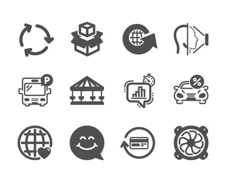 Set of Technology icons, such as Refund commission, Smile face, Bus parking, Carousels, Car leasing, Packing boxes, Computer fan, Face id, International love, World globe, Statistics timer. Vector