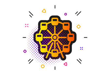 Amusement park sign. Halftone circles pattern. Ferris wheel icon. Carousels symbol. Classic flat ferris wheel icon. Vector Illustration