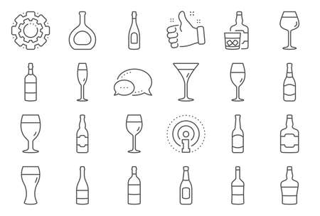 Wine bottle line icons. Set of Craft beer, Whiskey and Wine glass icons. Champagne bottle, Alcohol drink. Wineglass, Beer glass and Restaurant goblet signs. Beverage drink. Vector