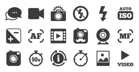 Set of Photo and Video icons. Information, chat bubble icon. Camera, timer and frame signs. No flash and Auto focus symbols. Quality set. Vector
