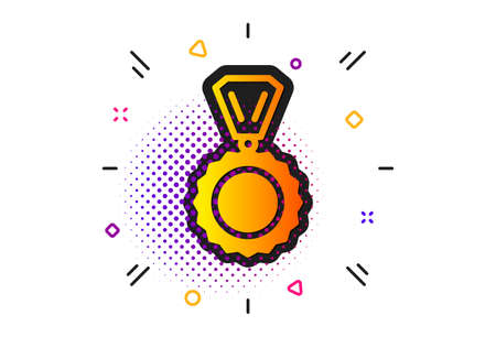 Winner achievement symbol. Halftone circles pattern. Award Medal icon. Glory or Honor sign. Classic flat medal icon. Vector