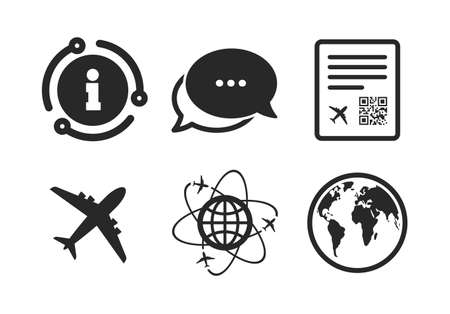 World globe symbol. Chat, info sign. Airplane icons. Boarding pass flight sign. Airport ticket with QR code. Classic style speech bubble icon. Vector Illusztráció
