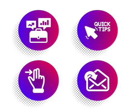 Touchscreen gesture, Quick tips and Business portfolio icons simple set. Halftone dots button. Receive mail sign. Slide right, Helpful tricks, Job interview. Incoming message. Business set. Vector Illustration