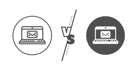 Message correspondence sign. Versus concept. E-Mail line icon. Communication symbol. Line vs classic e-Mail icon. Vector Ilustracja