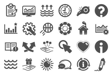 Whistle, Waves and Sun icons. Customisation, Global warming and Question mark signs. Signature Rfp, Information and Efficacy icons. Waves, Consolidation and Operational excellence. Quality set. Vector Ilustração
