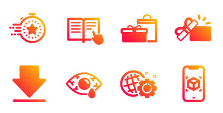 Opened gift, Read instruction and Seo gear line icons set. Gifts, �¡onjunctivitis eye and Timer signs. Downloading, Augmented reality symbols. Present box, Opened book. Business set. Vector Stock Illustratie