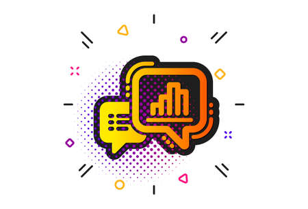 Column chart sign. Halftone circles pattern. Graph icon. Growth diagram symbol. Classic flat graph chart icon. Vector