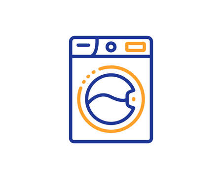 Laundry service sign. Washing machine line icon. Clothing cleaner symbol. Colorful outline concept. Blue and orange thin line washing machine icon. Vector