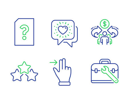 Unknown file, Ranking stars and Touchscreen gesture line icons set. Sharing economy, Friends chat and Tool case signs. Doc with question mark, Winner award, Slide right. Share. Vector