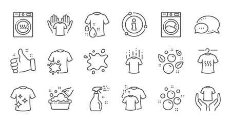 Iconos de línea de lavandería. Secadora, lavadora y remera de suciedad. Lavandería, lavado de manos, iconos de servicio de lavandería. Conjunto lineal. Conjunto de líneas de calidad. Vector