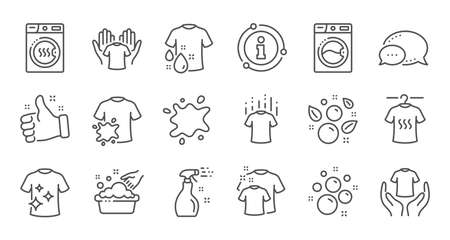 Laundry line icons. Dryer, Washing machine and dirt shirt. Laundromat, hand washing, laundry service icons. Linear set. Quality line set. Vector Vectores