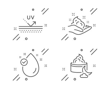 Skin care, Vitamin e and Uv protection line icons set. Night cream sign. Hand cream, Oil drop, Face lotion. Beauty set. Line skin care outline icon. Vector Illustration
