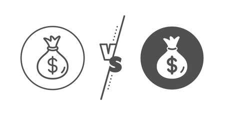 Cash Banking currency sign. Versus concept. Money bag line icon. Dollar or USD symbol. Line vs classic money bag icon. Vector Ilustração