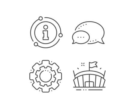 Sports stadium line icon. Chat bubble, info sign elements. Arena with flag sign. Sport complex symbol. Linear arena outline icon. Information bubble. Vector Ilustrace