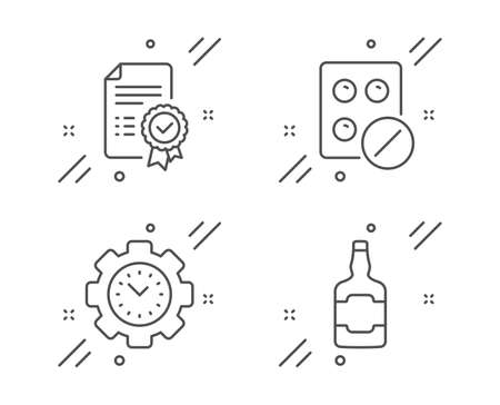 Time management, Medical tablet and Certificate line icons set. Whiskey bottle sign. Settings, Medicine pill, Verified document. Scotch alcohol. Business set. Line time management outline icon. Vector
