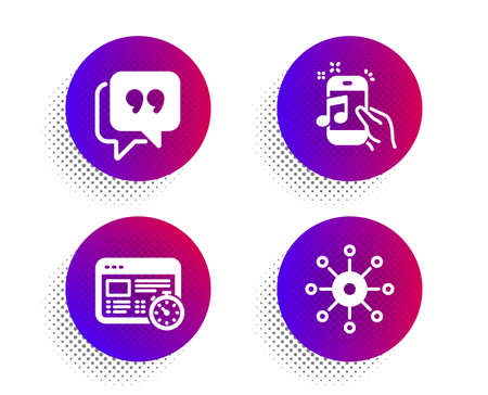 Quote bubble, Music phone and Web timer icons simple set. Halftone dots button. Multichannel sign. Chat comment, Radio sound, Online test. Multitasking. Technology set. Vector Illustration
