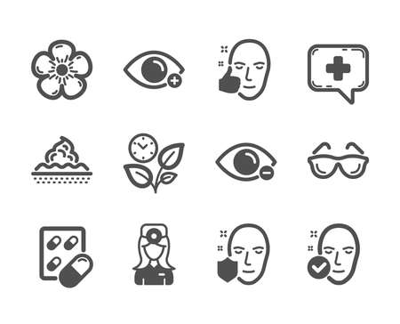 Set of Healthcare icons, such as Skin care, Leaves, Farsightedness, Healthy face, Natural linen, Health skin, Medical chat, Capsule pill, Eyeglasses, Oculist doctor, Face protection. Vector