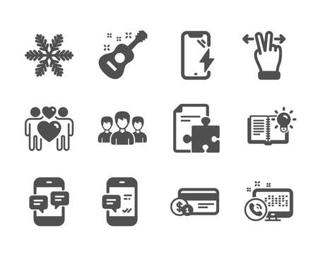 Set of Business icons, such as Snowflake, Smartphone charging, Smartphone notification, Phone messages, Guitar, Love couple, Payment method, Product knowledge, Touchscreen gesture, Group. Vector