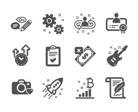 Set of Education icons, such as Time management, Photo camera, Bitcoin graph, Recruitment, Rejected payment, Checklist, Work, Certificate, Feather, Keywords, Electric guitar classic icons. Vector Ilustração