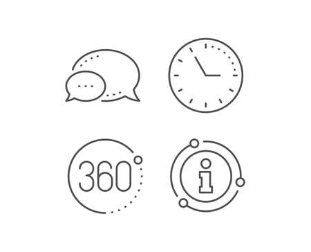 360 degrees line icon. Chat bubble, info sign elements. VR simulation sign. Panoramic view symbol. Linear 360 degrees outline icon. Information bubble. Vector 向量圖像