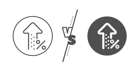 Discount sign. Versus concept. Increasing percent line icon. Credit percentage growing symbol. Line vs classic increasing percent icon. Vector