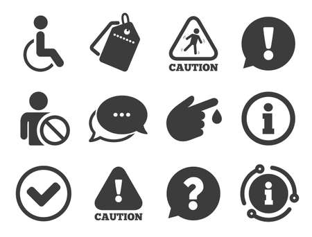 Question mark and information signs. Discount offer tag, chat, info icon. Caution and attention icons. Injury and disabled person symbols. Classic style signs set. Vector