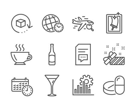 Set of Business icons, such as Time zone, Calendar, Window cleaning, Beer, Present, Martini glass, Seo graph, Search flight, Comments, Return package, Medical drugs, Coffee line icons. Vector