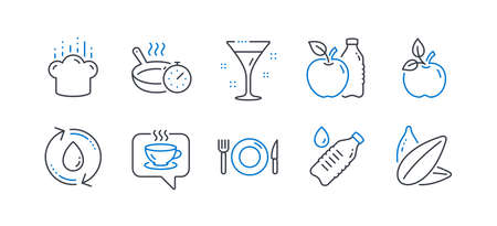 Set of Food and drink icons, such as Refill water, Eco food, Water bottle, Food, Coffee, Frying pan, Cocktail, Cooking hat, Apple, Sunflower seed line icons. Recycle aqua, Organic tested. Vector