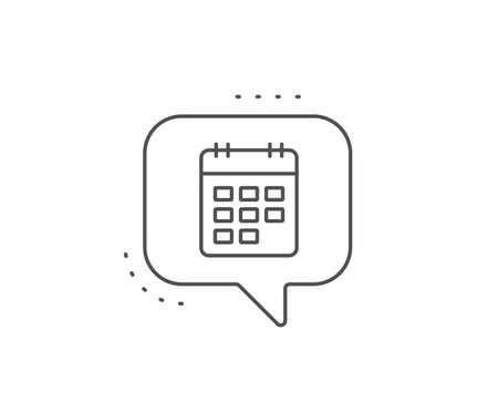 Calendar line icon. Chat bubble design. Event reminder sign. Agenda symbol. Outline concept. Thin line calendar icon. Vector 向量圖像