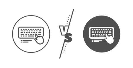 Computer component device sign. Versus concept. Keyboard line icon. Line vs classic computer keyboard icon. Vector Illustration