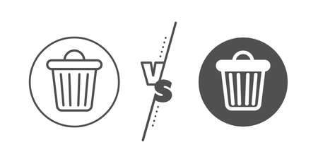 Garbage, waste sign. Versus concept. Trash bin line icon. Delete, remove symbol. Line vs classic trash bin icon. Vector